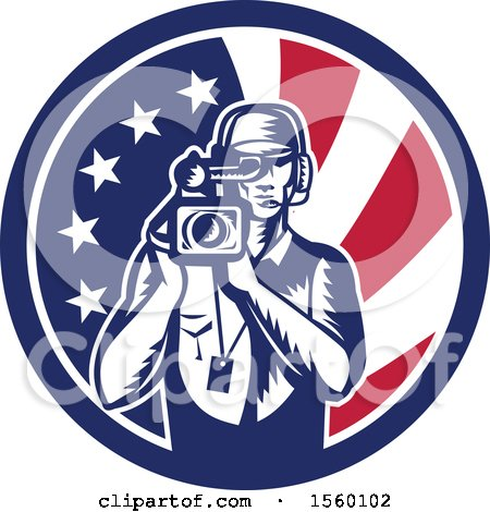 Clipart of a Retro Woodcut Camera Man in an American Flag Circle - Royalty Free Vector Illustration by patrimonio