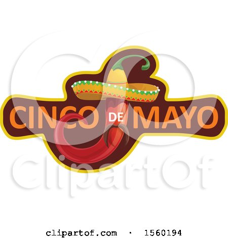 Clipart of a Cindo De Mayo Design with a Mexican Pepper Wearing a Sombrero Hat - Royalty Free Vector Illustration by Vector Tradition SM