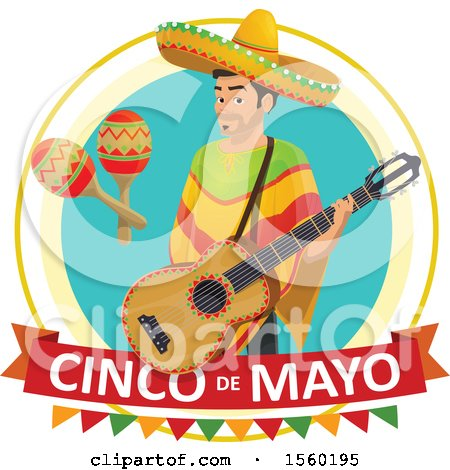 Clipart of a Cindo De Mayo Design with a Man Holding a Guitar - Royalty Free Vector Illustration by Vector Tradition SM