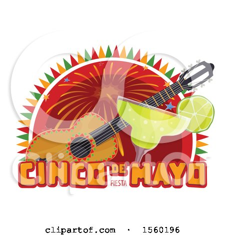 Clipart of a Cindo De Mayo Design with a Guitar and Margarita - Royalty Free Vector Illustration by Vector Tradition SM