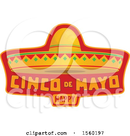 Clipart of a Cindo De Mayo Design with a Sombrero Hat - Royalty Free Vector Illustration by Vector Tradition SM