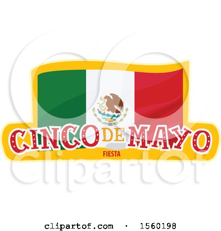 Clipart of a Cindo De Mayo Design with a Mexican Flag - Royalty Free Vector Illustration by Vector Tradition SM