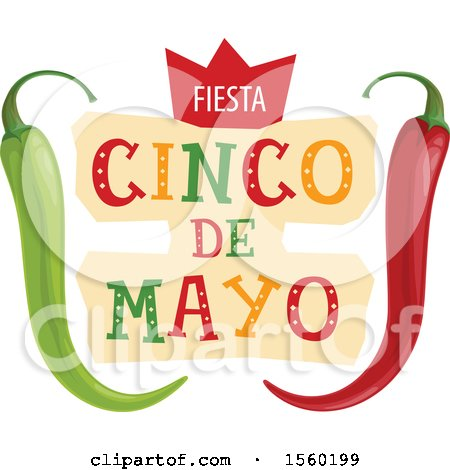 Clipart of a Cindo De Mayo Design with Peppers - Royalty Free Vector Illustration by Vector Tradition SM