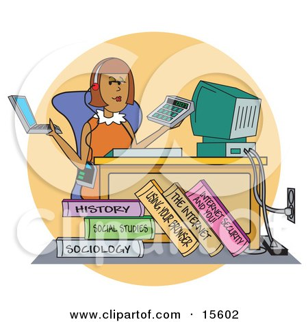 Busy Female College Student Working On A Laptop, Using A Calculator And Computer All While Listening To Music At Her Desk Clipart Illustration by Andy Nortnik