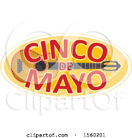 Clipart of a Cindo De Mayo Design with a Guitar - Royalty Free Vector Illustration by Vector Tradition SM