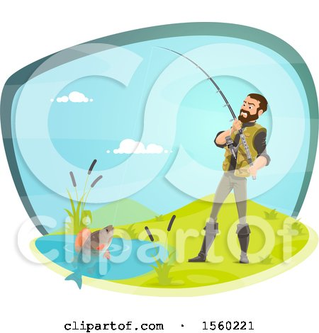 Clipart of a Man Reeling in a Fish - Royalty Free Vector Illustration by Vector Tradition SM