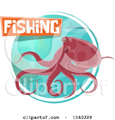 Clipart of an Octopus with Fishing Text over a Circle of Sea Life - Royalty Free Vector Illustration by Vector Tradition SM