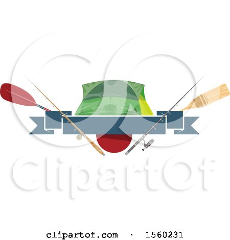Clipart of a Fishing Design with Gear - Royalty Free Vector Illustration by Vector Tradition SM