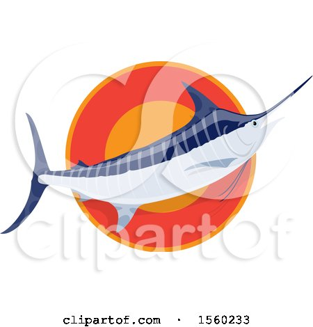 Clipart of a Marlin Fish over a Circle - Royalty Free Vector Illustration by Vector Tradition SM