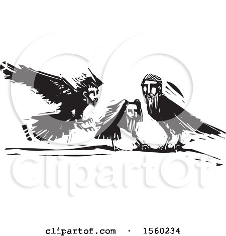 Clipart of Black and White Crows with Heads of Men - Royalty Free Vector Illustration by xunantunich