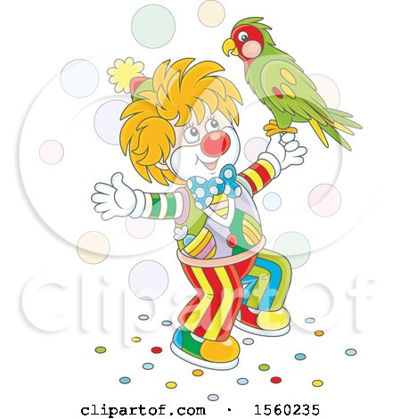 Clipart of a Cute Clown with a Parrot - Royalty Free Vector Illustration by Alex Bannykh