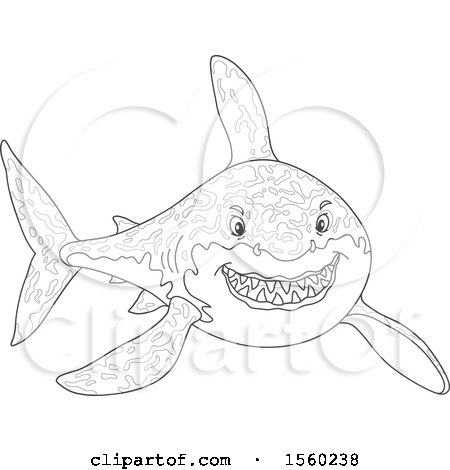 Clipart of a Lineart Tough Great White Shark - Royalty Free Vector Illustration by Alex Bannykh