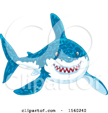 Clipart of a Grinning Great White Shark - Royalty Free Vector Illustration by Alex Bannykh