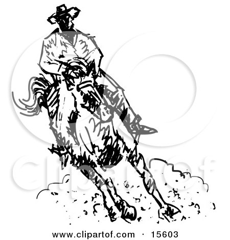 Cowboy Riding a Horse Clipart Illustration by Andy Nortnik