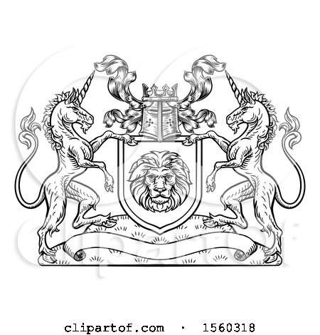 Clipart of a Rampant Lion and Unicorn Flanking a Lion Shield over a Banner, Black and White Woodcut - Royalty Free Vector Illustration by AtStockIllustration