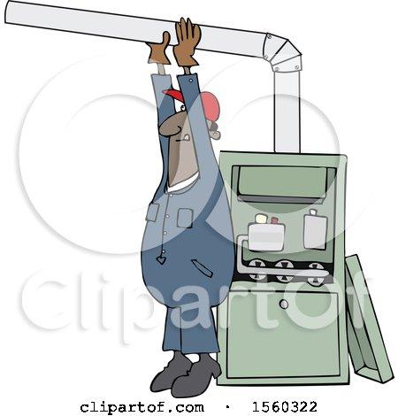 Clipart of a Cartoon Black Male Furnace Installer Adjusting a Pipe - Royalty Free Vector Illustration by djart