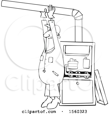 Clipart of a Cartoon Lineart Black Male Furnace Installer Adjusting a Pipe - Royalty Free Vector Illustration by djart