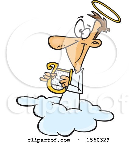 Clipart of a Cartoon White Male Angel Holding a Lyre on a Cloud - Royalty Free Vector Illustration by toonaday