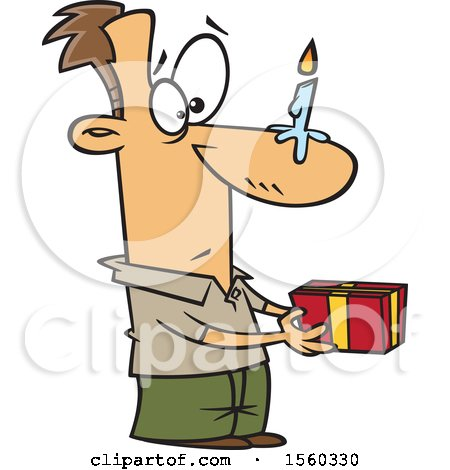 Clipart of a Cartoon White Man Holding a Gift, with a Birthday Candle on His Nose - Royalty Free Vector Illustration by toonaday