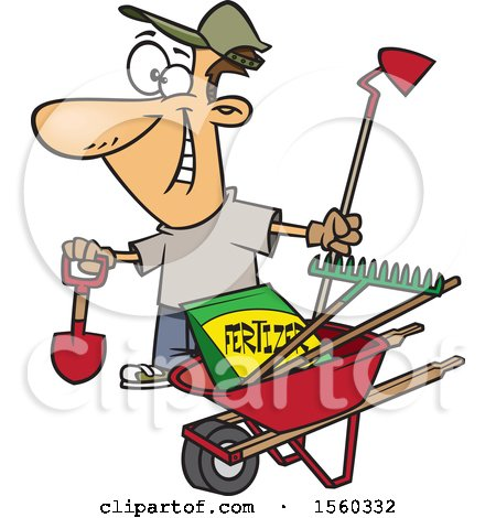 Clipart of a Cartoon White Man with His Garden Tools and Fertilizer - Royalty Free Vector Illustration by toonaday
