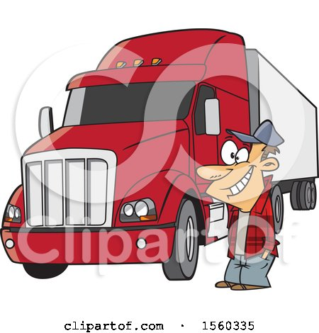Clipart of a Cartoon Happy White Male Trucker by His Big Rig - Royalty Free Vector Illustration by toonaday