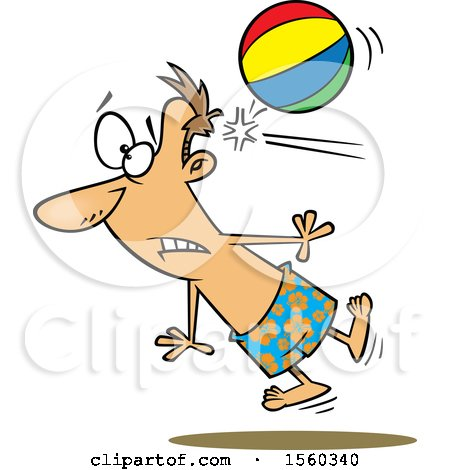 Clipart of a Cartoon White Man Being Knocked out by a Beach Ball - Royalty Free Vector Illustration by toonaday
