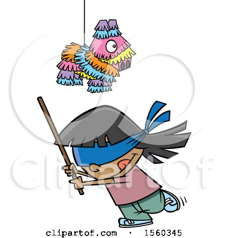 Clipart of a Cartoon Girl Swinging a Stick Under a Pinata - Royalty Free Vector Illustration by toonaday