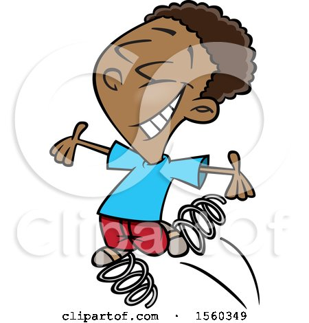 Clipart of a Cartoon Black Boy Bouncing on Springs - Royalty Free Vector Illustration by toonaday