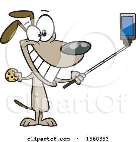 Clipart of a Cartoon Dog Taking a Selfie with a Stick - Royalty Free Vector Illustration by toonaday
