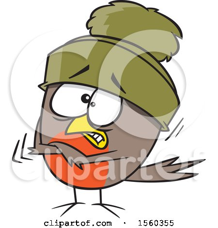 Clipart of a Cartoon Shivering Robin Bird - Royalty Free Vector Illustration by toonaday