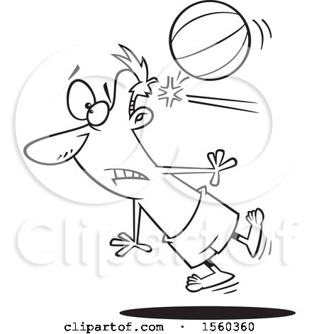 Clipart of a Cartoon Lineart Man Being Knocked out by a Beach Ball - Royalty Free Vector Illustration by toonaday