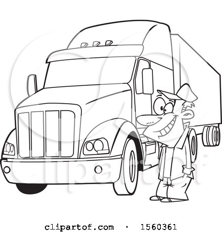 Clipart of a Cartoon Lineart Happy Male Trucker by His Big Rig - Royalty Free Vector Illustration by toonaday