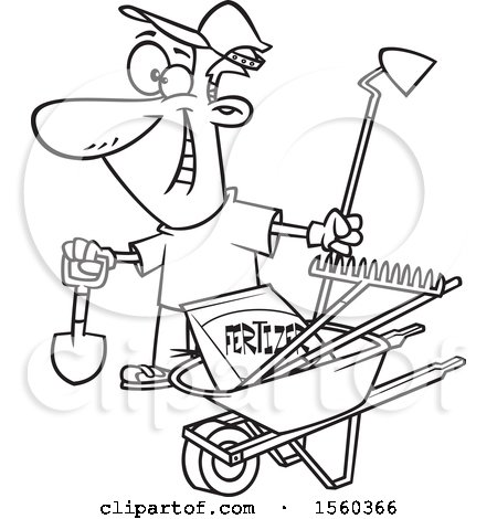 Clipart Of A Cartoon Lineart Man With His Garden Tools And