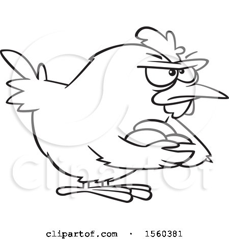 Clipart of a Cartoon Lineart Brooding Hen Holding Her Eggs - Royalty Free Vector Illustration by toonaday
