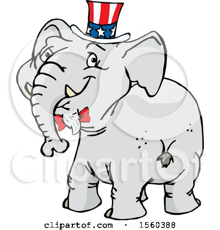 Clipart of a Political Republican Elephant Looking Back - Royalty Free Vector Illustration by Dennis Holmes Designs