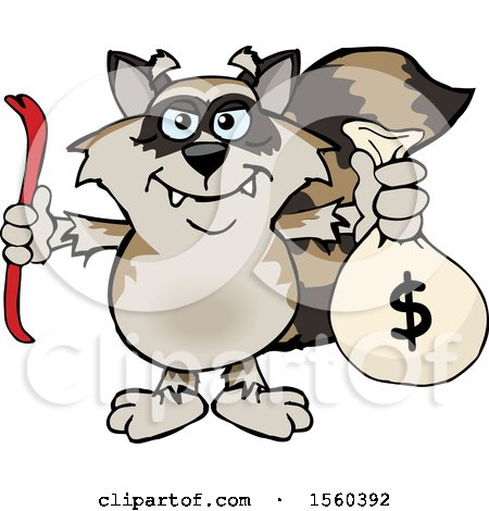 Clipart of a Raccoon Mascot Robber Holding a Crow Bar and Money Bag - Royalty Free Vector Illustration by Dennis Holmes Designs