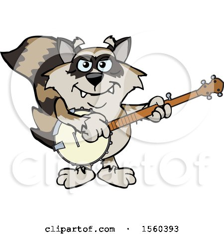 Clipart of a Raccoon Mascot Playing a Banjo - Royalty Free Vector Illustration by Dennis Holmes Designs