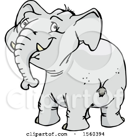 Clipart of a Happy Elephant Looking Back - Royalty Free Vector Illustration by Dennis Holmes Designs