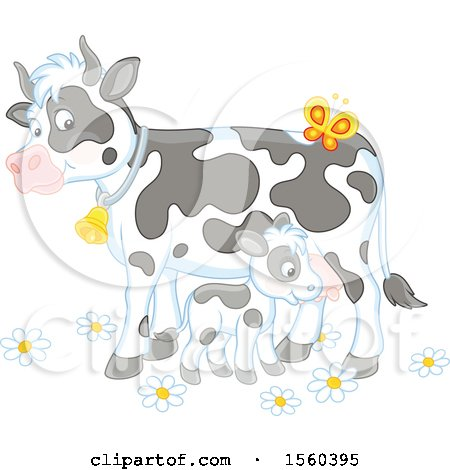 Clipart of a Baby Calf and Cow - Royalty Free Vector Illustration by Alex Bannykh