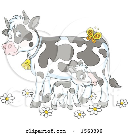 Clipart of a Baby Calf and Mamma Cow - Royalty Free Vector Illustration by Alex Bannykh