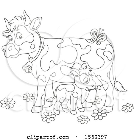 Clipart of a Lineart Baby Calf and Mamma Cow - Royalty Free Vector Illustration by Alex Bannykh