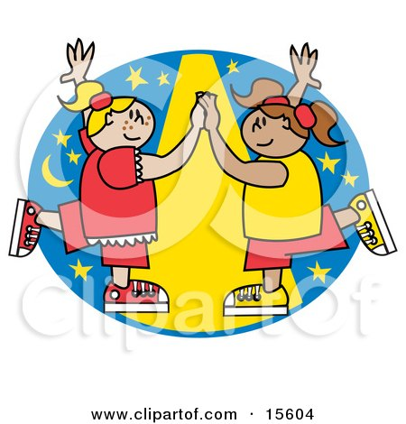 Two Happy Girls Dancing Together Under A Spotlight Posters, Art Prints