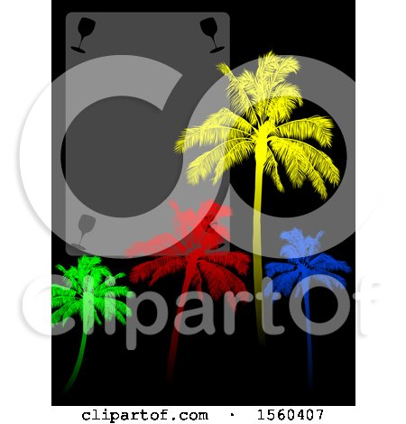 Clipart of a Blank Wine Menu with Glasses and Colorful Palm Trees on Black - Royalty Free Vector Illustration by elaineitalia