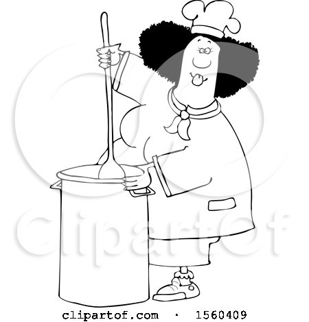 Clipart of a Cartoon Lineart Black Culinary Chef Woman Mixing a Pot of Food in a Kitchen - Royalty Free Vector Illustration by djart