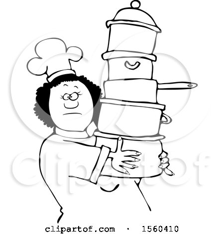 Clipart of a Lineart Black Chef Woman in a White Hat and Uniform, Carrying a Large Stack of Pots - Royalty Free Vector Illustration by djart