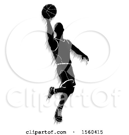 Clipart of a Motion Blur Styled Silhouetted Basketball Player in Action - Royalty Free Vector Illustration by AtStockIllustration