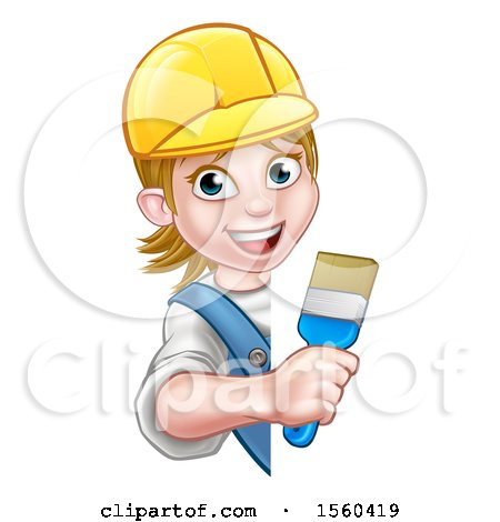 Clipart of a Cartoon Happy Female Painter Holding a Brush Around a Sign - Royalty Free Vector Illustration by AtStockIllustration