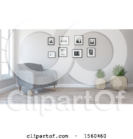 Clipart of a 3d Room Interior with a Chair - Royalty Free Illustration by KJ Pargeter