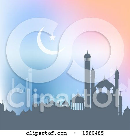 Clipart of a Ramadan Kareem Background with a Silhouetted Mosque - Royalty Free Vector Illustration by KJ Pargeter