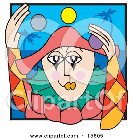 Friendly Clown Juggling Balls Clipart Illustration